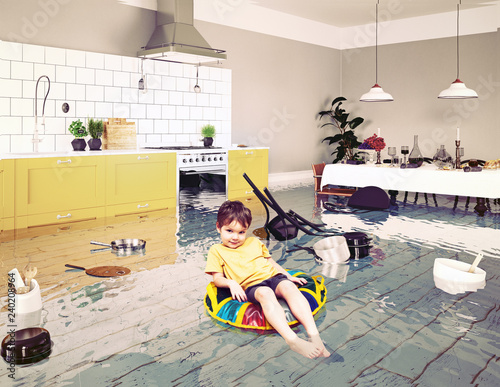 boy in the flooded room Wallpaper Mural
