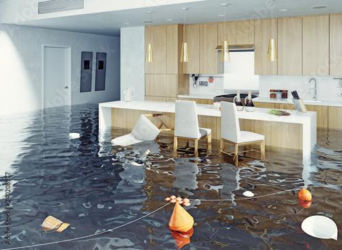Fotografija flooding kitchen interior.