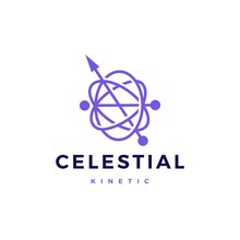 Celestial Orbital Kinetic Pendulum Logo Vector Icon Illustration