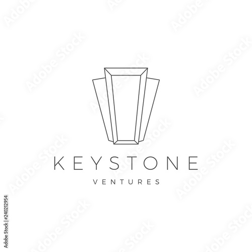 Valokuvatapetti Keystone key stone logo vector icon illustration line outline monoline