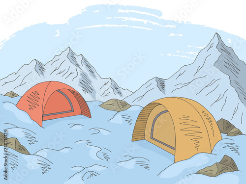 Tuinposter Lichtblauw Camping graphic color snow mountain landscape sketch illustration vector