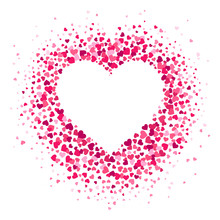 Love Heart Frame. Scattered Hearts Confetti In Heart Shape, Valentines Card And Romance Shapes Scatter Vector Illustration Background