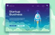 Startup Launch Landing Page. Rocket Launch, Easy Business Start And Futuristic Space Travel Vector Concept Illustration
