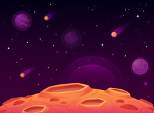 Space Asteroid Surface. Planet...