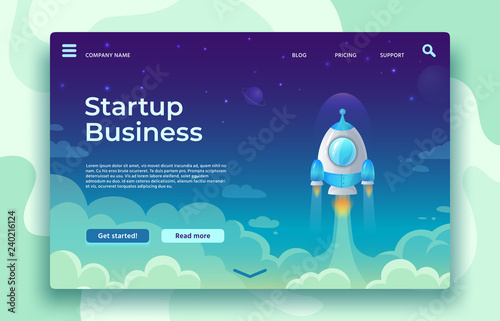 Obraz Startup launch landing page. Rocket launch, easy business start and futuristic space travel vector concept illustration - fototapety do salonu