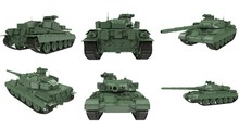 Military French Tank AMX 30b2 On An Isolated White Background. 3d Illustration