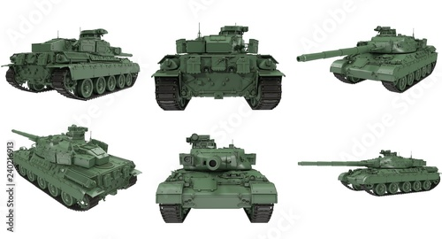 Fototapeta  military French tank AMX 30b2 on an isolated white background