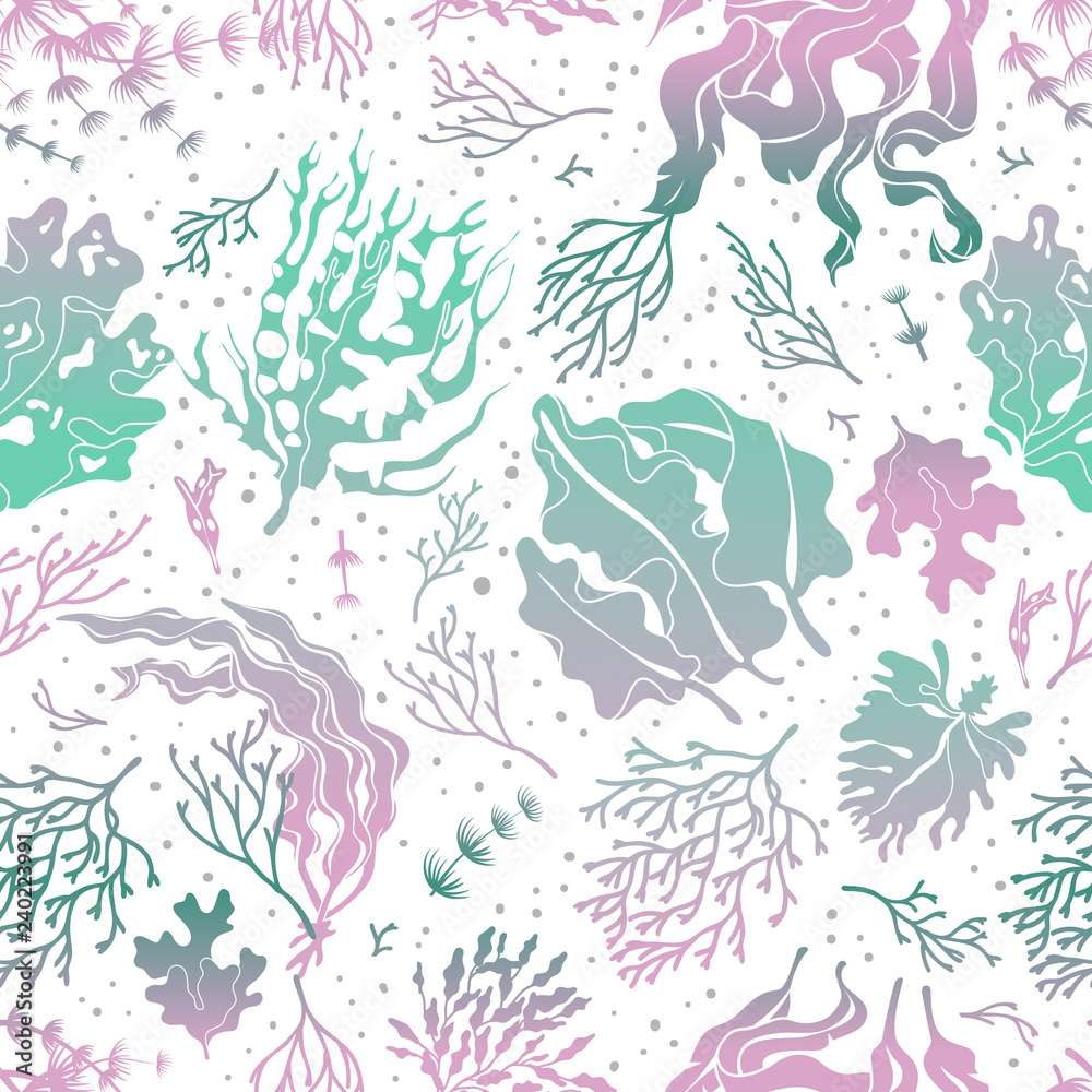 Seaweed seamless pattern. Marine plants silhouette texture. Sea kelp endless vector wallpaper