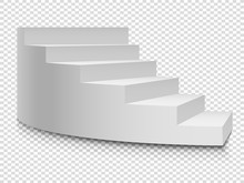 White 3d Circular Ladder. Vector Staircase Or Stairway Up To Success On Transparent Background