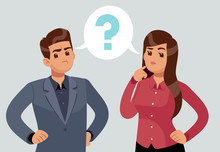 Confused Couple. Thoughtful Young Girl And Man. Troubled People Thought With Question Mark. Thinking Vector Concept