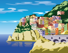 The City On The Hill. Town Near The Sea. Town Mountain Slope. Vector Illustration.