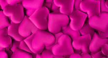 Valentine's Day. Purple Heart Shape Backdrop. Abstract Holiday Valentine Background With Purple Satin Hearts. Love Concept
