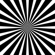Burst Pop Art Vector Background On Black And White. Vector Illustration