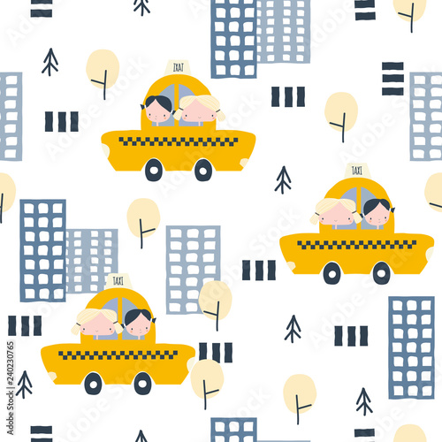 seamless-pattern-with-cartoon-girls-skyscraper-cars-and-road-cute-kids-print-vector-hand-drawn-illustration