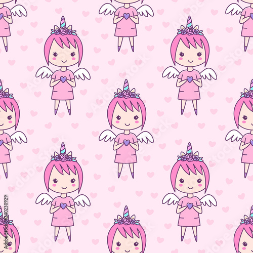 Fotografie, Obraz  Seamless pattern with girl in a hairband unicorn with flowers, with wings and a heart in her hands, on a pink background