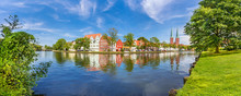 A Panoramic View Of The Old Town Of Luebeck (German: Lübeck), Germany, Across The River Trave.