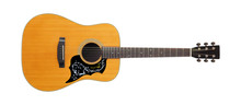 Musical Instrument - Front View Classic Vintage Acoustic Guitar Folk. Isolated