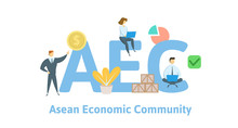 AEC, Asean Economics Community. Concept With Keywords, Letters And Icons. Colored Flat Vector Illustration. Isolated On White Background.