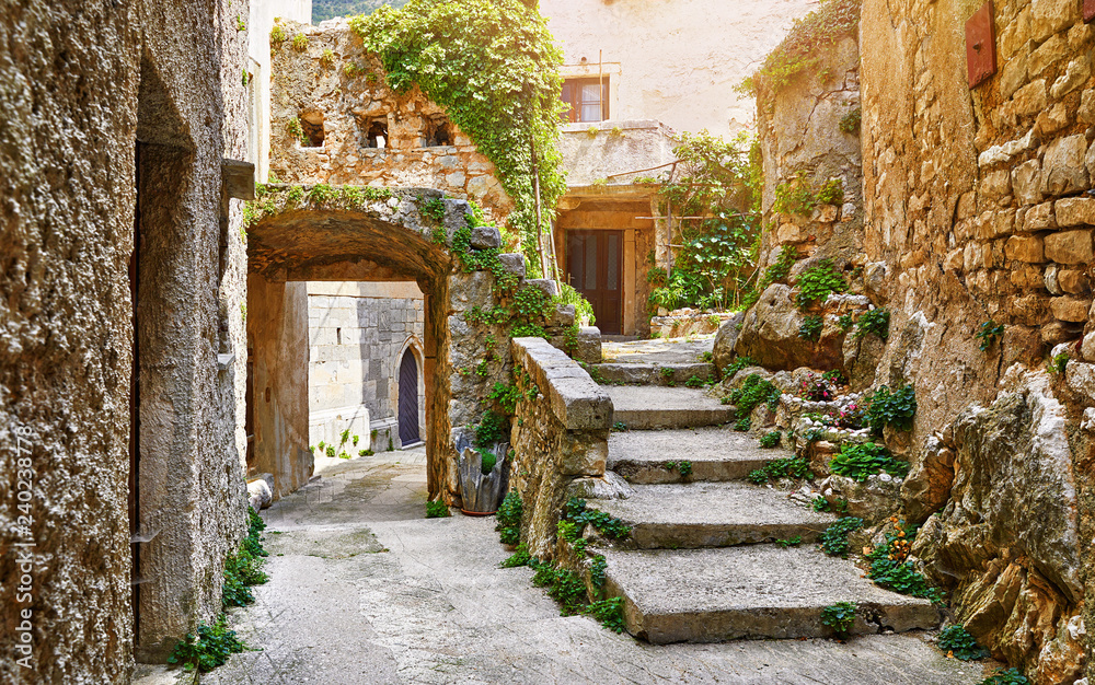 Fototapety, obrazy: Croatia Istria. Ancient abandoned medieval town Plomin. Old