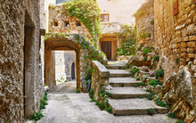 Croatia Istria. Ancient Abandoned Medieval Town Plomin. Old