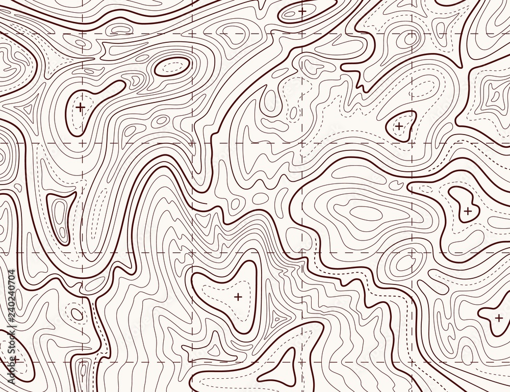 Fototapeta Topographic map. Trail mapping grid, contour terrain relief line texture. Cartography vector concept