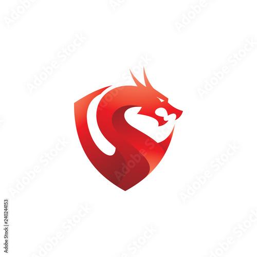 Modern colorful gradient dragon logo, dragon and shield vector icon Fototapet