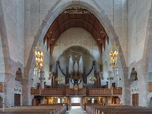 Photo  Interior of Engelbrekt Church with pipe organ in Stockholm, Sweden