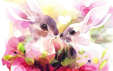 Hand Painted Watercolor. The Couple Of Rabbits In Romantic Settings