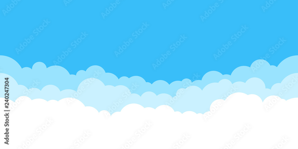 Fototapeta Blue sky with white clouds background. Border of clouds. Simple cartoon design. Flat style vector illustration.