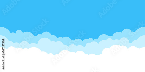 Obraz Blue sky with white clouds background. Border of clouds. Simple cartoon design. Flat style vector illustration. - fototapety do salonu