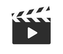 Film Clapper And Triangle Play Sign. Simple Icon Or Logo Isolated On White Background. Flat Style Vector Illustration.