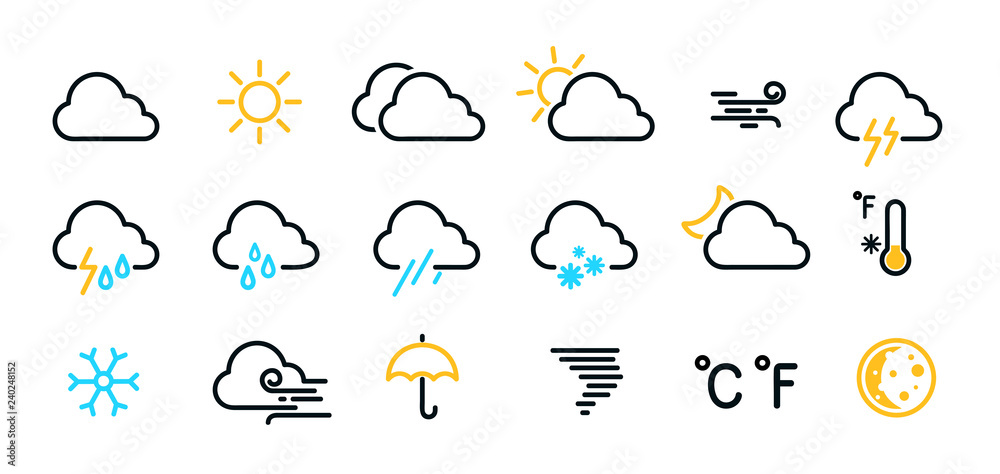 Fototapeta Weather icons set isolated on a white background. Clouds logo and sign collection. Black, blue and yellow colors. Simple modern design. Flat style vector illustration.