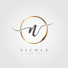 Elegant Initial Letter N Logo With Gold Circle Brushed
