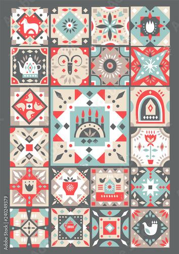 Fotografie, Obraz Concept of original Christmas greeting  card made of folk patterned squares