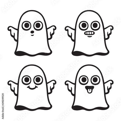 Cute cartoon ghost set Canvas Print