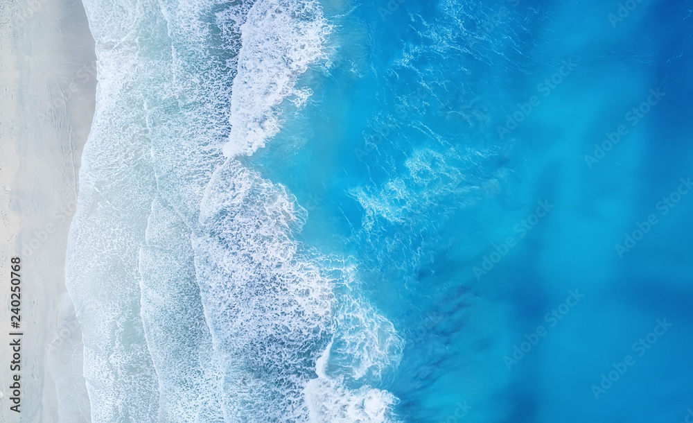 Fototapety, obrazy: Beach and waves from top view. Turquoise water background from top view. Summer seascape from air. Top view from drone. Travel concept and idea