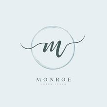 Elegant Initial Letter Type M Logo With Brushed Circle