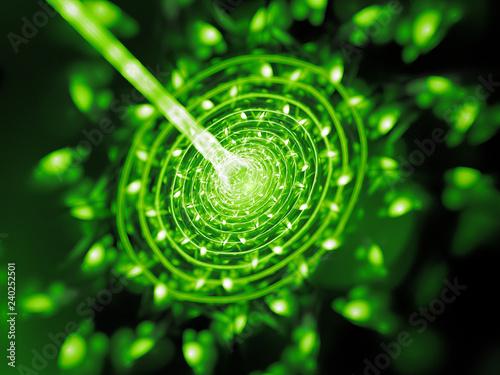 Fotomural  Green glowing quantum beam hit target