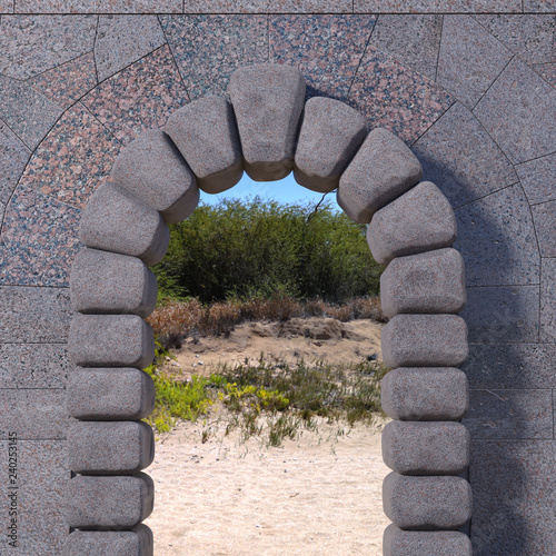 Fényképezés Cyclopean stone gate with granite tiled wall, sand and trees viewed through the opening
