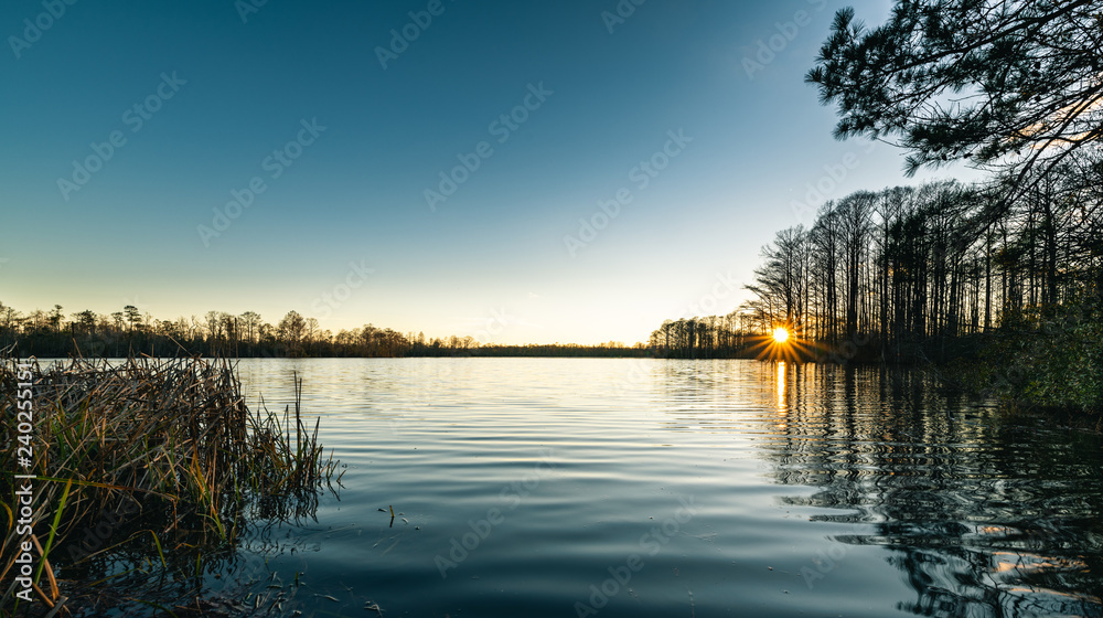 Fototapety, obrazy: Sunset from the shore of the Northwest River in Chesapeake Virginia