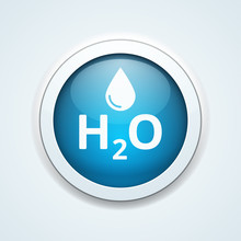 Water H2O Drop Button Illustra...