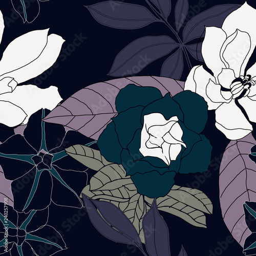 Foto op Canvas Abstract bloemen Beautiful seamless floral pattern background.