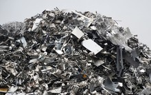 Large Stack Of Aluminum And Ferrous Materials Scrap Ready For Recycling