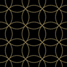Art Deco Style Textured Golden Chain Seamless Pattern. Gold Necklace Repeating Vector Background. Cloth Design. Can Be Used For Wallpaper, Pattern Fills, Web Page Background, Surface Textures.