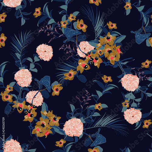 Fototapety, obrazy: Beautiful  Floral pattern in the many kind of flowers. Tropical botanical  . Seamless vector texture.fashion fabric and all prints