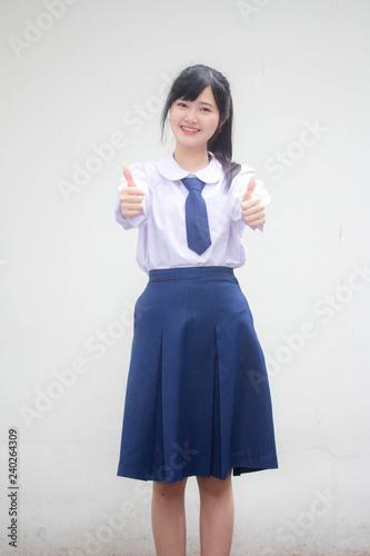 Fotografie, Obraz  Portrait of thai high school student uniform beautiful girl excellent