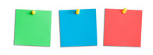 Three Green, Blue And Red Memo Reminder Cards Isolated On White.