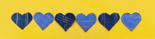 Hand Made Jeans Hearts On A Yellow Background. Flat Lay, Top View, Minimal Style, Copy Space For Text. Symbol Of Love, For Valentine's Day Greeting Card Or Social Media Post