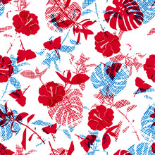Bright  Summer Silhouette Red Flowers And Botanical On Hand Line Sketch In Shape Of Leaves Seamless Pattern Vector For Fashion Fabric