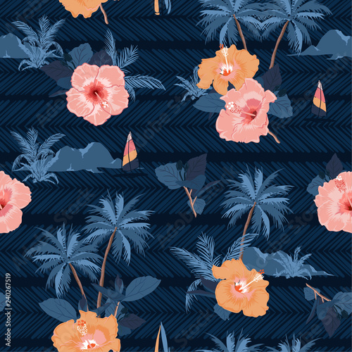 Fototapety, obrazy: Deep ocean summer night in Hawaii print vector seamless beautiful  Bright summer tropical pattern with exotic forest.
